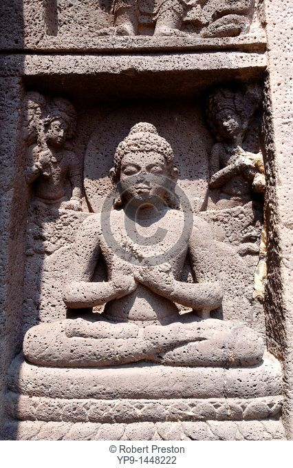 India - Maharashtra state - Ajanta Caves - sculpture outside the Ajanta Caves