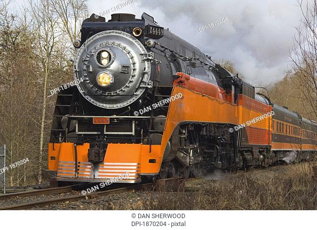 portland, oregon, united states of america, steam locomotive 4449 at oaks amusement park