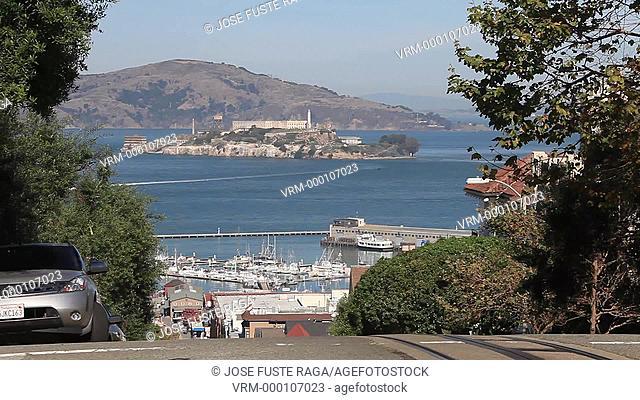 USA-California-San Francisco City-Hyde Street-Tramway appering-Alcatraz Prison Island