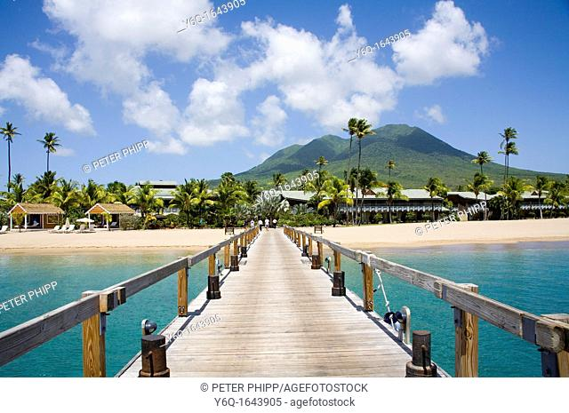 Stunning Pinney's beach with Coconut Palms, and the Volcano in the distance, at Nevis  Caribbean