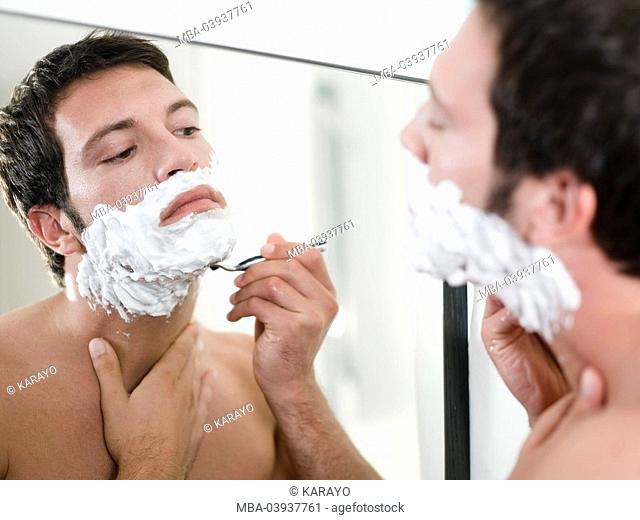Man, attractively, face, shaving cream, shaves, reflection, portrait, broached
