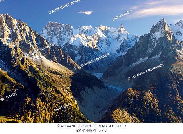 Mer de Glace glacier surrounded by peaks of Mont Blanc, Chamonix, Rhone-Alpes, France