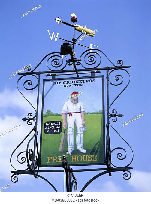 Great Britain, England, west Sussex,  Duncton, sign, hotel, restaurant,  'The Cricketers'  Europe, island, city, gastronomy, bar, pub, trip, vacation, tourism