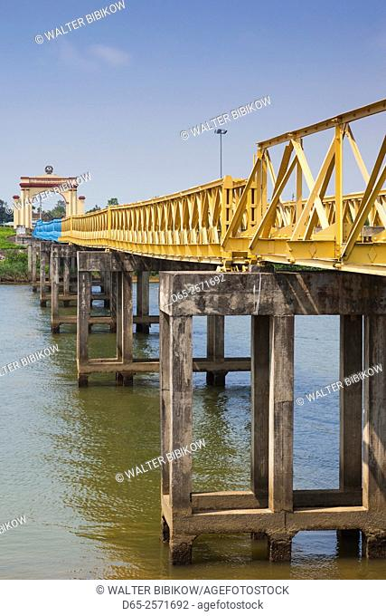 Vietnam, DMZ Area, Quang Tri Province, Ben Hai, war memorial at site of former north and south Vietnam border post, bridge across Ben Hai River