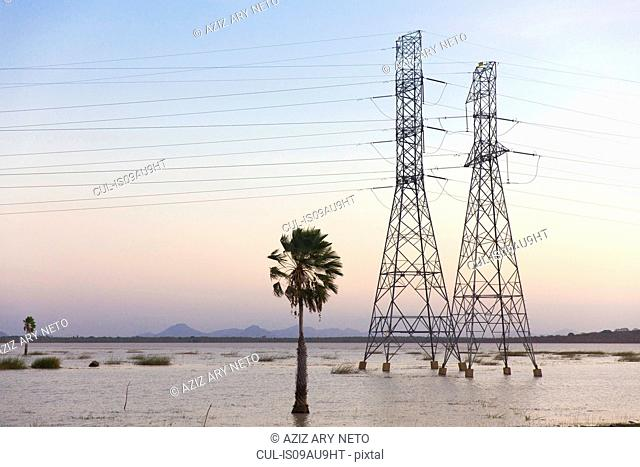Electricity pylons in waterlogged field, Taiba, Ceara, Brazil