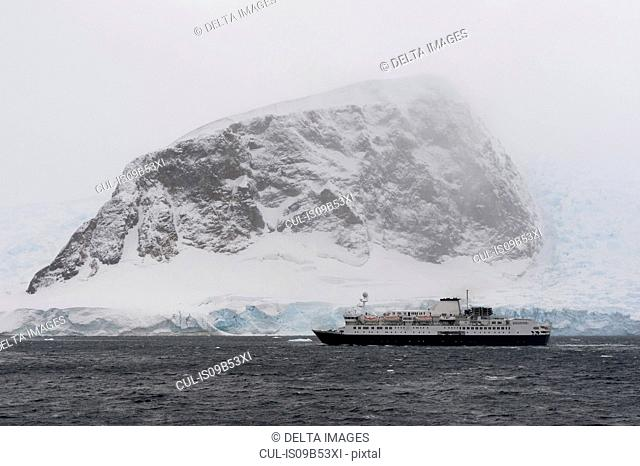 Ship in Neko Harbour, Antarctica