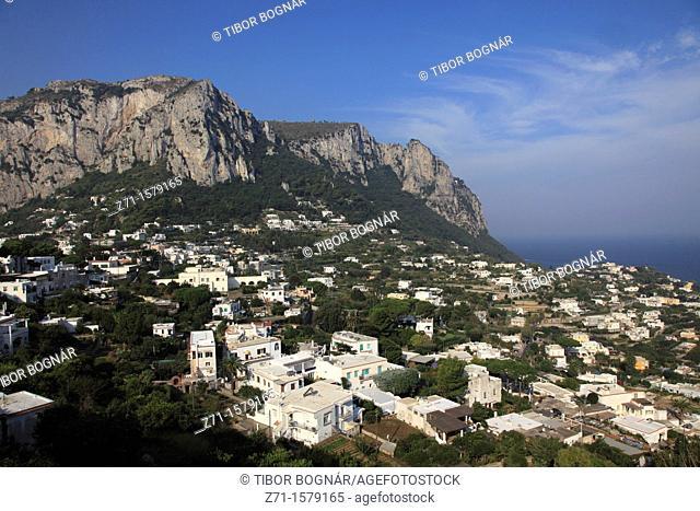 Italy, Campania, Capri, Marina Grande, general aerial view