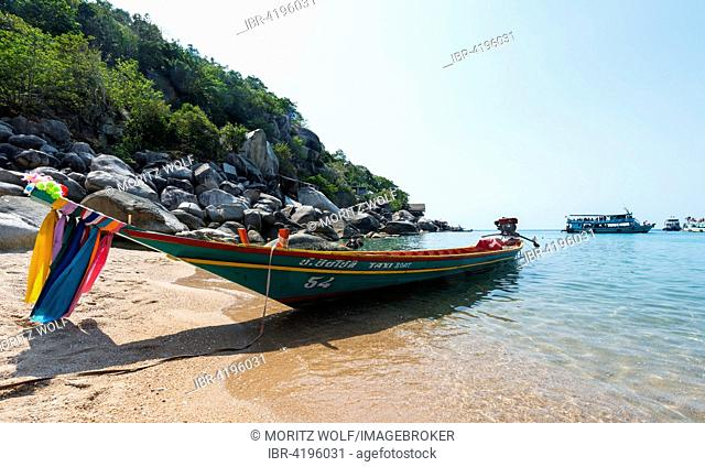 Longtail boat on the beach, turquoise sea, Koh Tao, Gulf of Thailand, Thailand