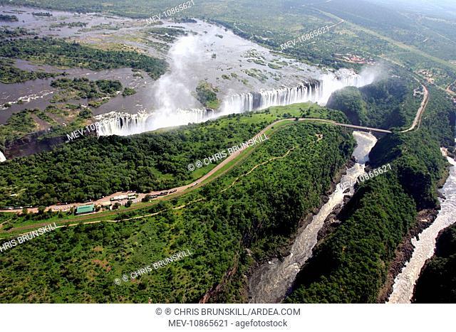 Victoria Falls - aeriel view. Zambia / Zimbabwe, Africa