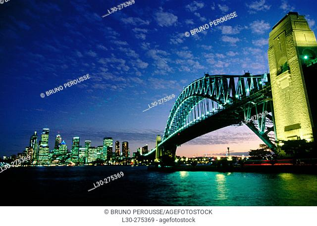 Harbour Bridge and Sydney skyline at night. Sydney. Australia