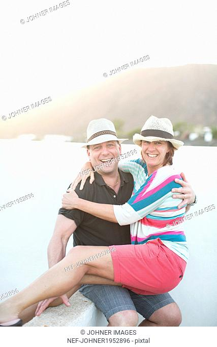 Mature couple together, Lanzarote, Canary Islands, Spain