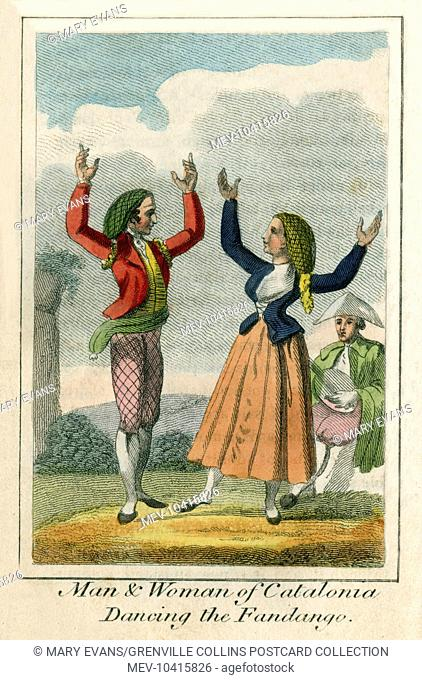 Dancing the Fandango, Catalonia (Spain). A book of national types and costumes from the early 19th century