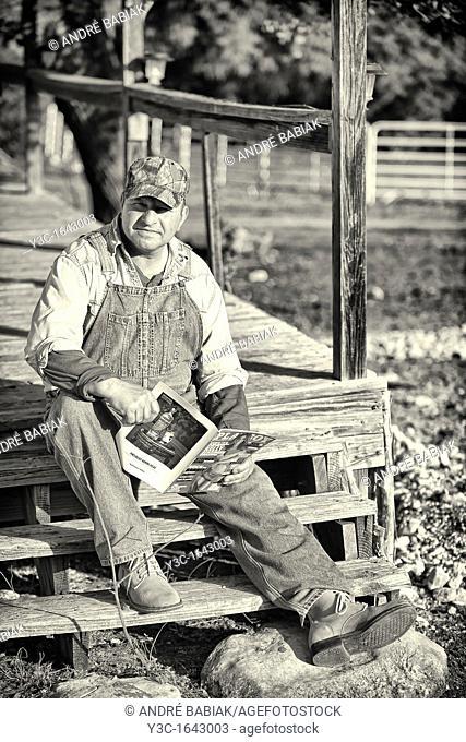 American Farmer Vintage Style Reading Playboy Magazine