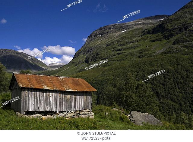 Shed in the mountains near the Norwegian village Geiranger
