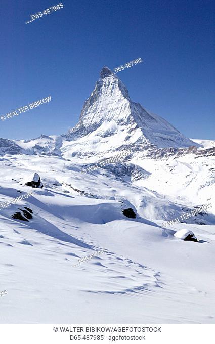 Rotenboden (el. 2815 meters). View of the Matterhorn. Winter. Zermatt. Wallis/Valais. Switzerland