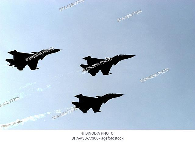 Indian Air Force three fighter aircrafts perform during the air show at Marine Drive in Bombay now Mumbai ; Maharashtra ; India