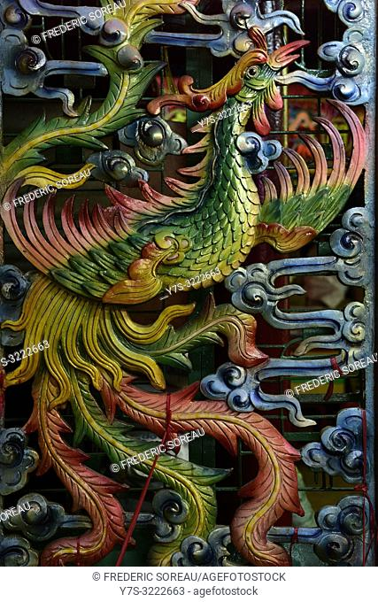 Dragon sculpture in a Taoist temple,Ho Chi Minh City,Vietnam,South East Asia