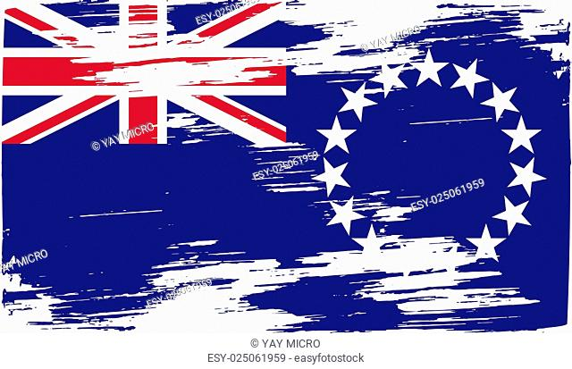 Flag of Cook islands with old texture