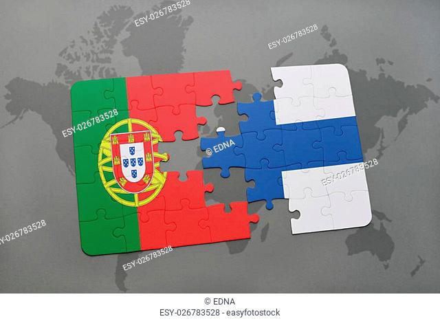puzzle with the national flag of portugal and finland on a world map background. 3D illustration