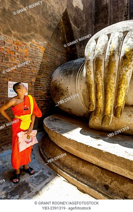 Young Buddhist Monk At Wat Si Chum, Sukhothai, Thailand