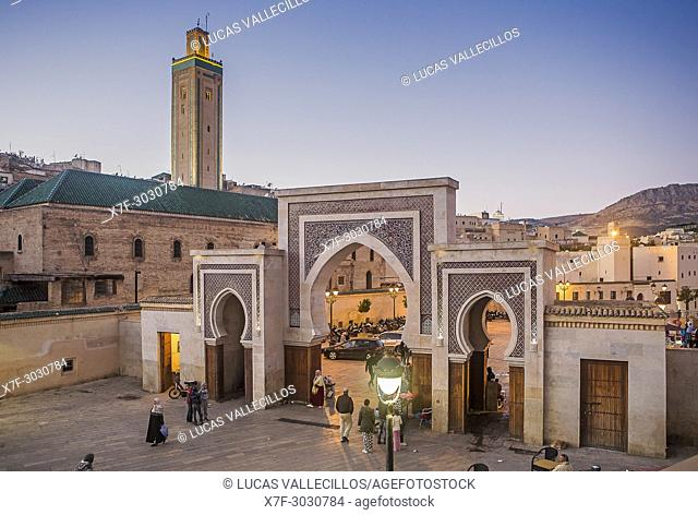 Bab R'Cif gate and Mosque R'Cif, in R'Cif Square, gateway to andalusian quarter, medina,Fez, Morocco