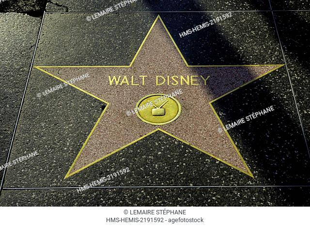 United States, California, Los Angeles, Hollywood, Hollywood Boulevard, star on Hollywood Walk of Fame