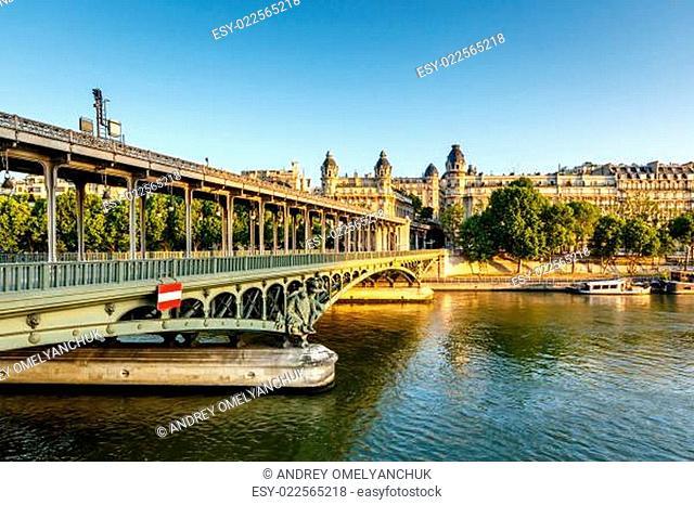 Bir-Hakeim Bridge and Seine River in the Morning, Paris, France