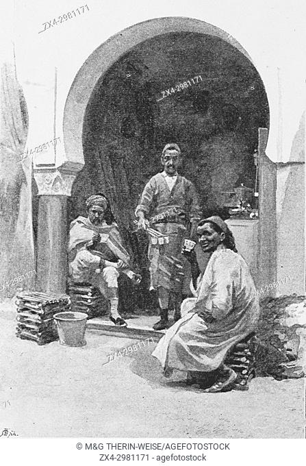 Tunisian Pavilion, Moorish cafe, Universal Exhibition 1900 in Paris, Picture from the French weekly newspaper l'Illustration, 15th September 1900