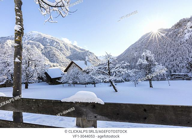 Filisur in winter, Albula Valley, Canton of Graubünden, Switzerland