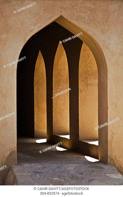 Architectural arch detail in the fort of Nizwa, Al Jinah, Oman