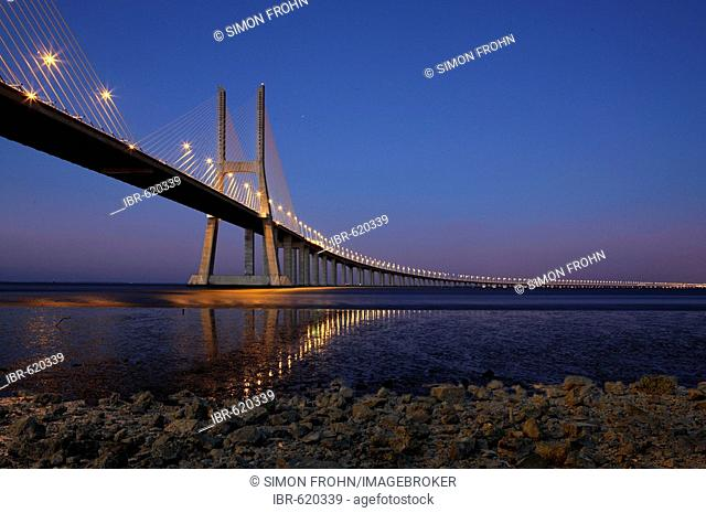 Vasco de Gama Bridge over the Tejo River, Lisbon, Portugal