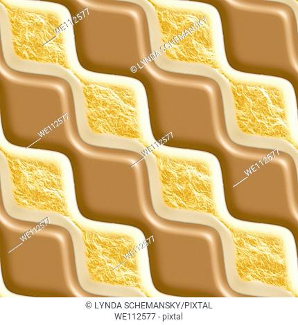 Milk chocolate and toasted marshmallow rippled diamonds tiling background texture pattern