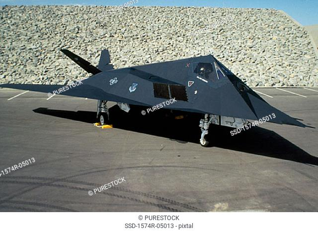 High angle view of an F-117A Nighthawk