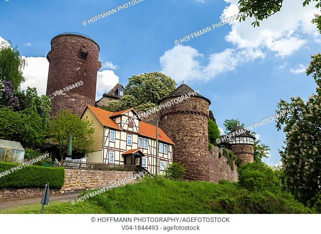 The picturesque Trendelburg Rapunzel's castle on the German Fairy Tale Route, Trendelburg, Hesse, Germany, Europe