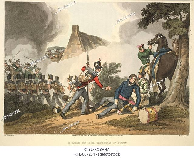 The death of Sir Thomas Picton, at the Battle of Waterloo. Image taken from Historic, Military, and Naval Anecdotes of particular incidents which occurred to...