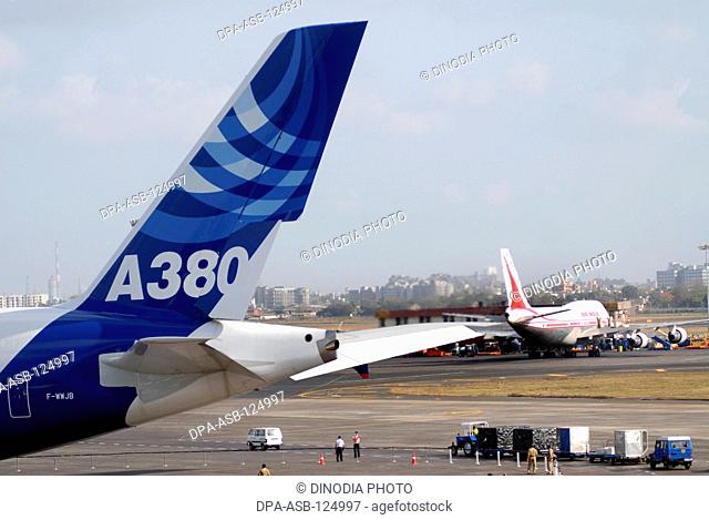 Largest commercial airline Airbus A380 lands at Sahar Airport now renamed as Chatrapati Shivaji International Airport in Bombay now Mumbai on 8th May 2007 ;...