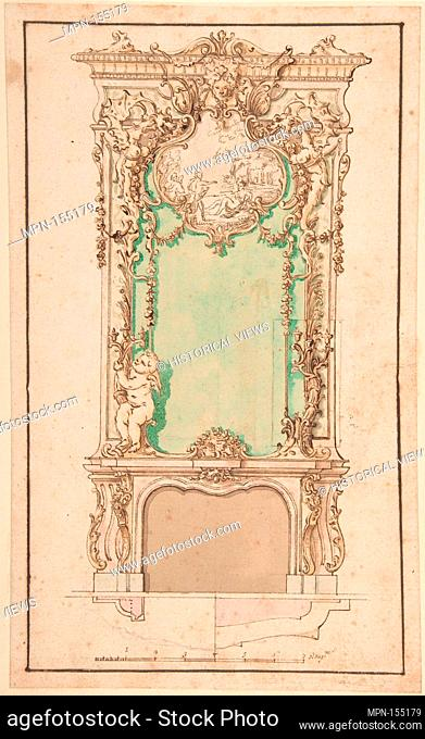 Design for Mantelpiece and Elaborate Overmantel. Artist: Anonymous, Italian, first half of the 18th century , Neapolitan; Former Attribution: Formerly...