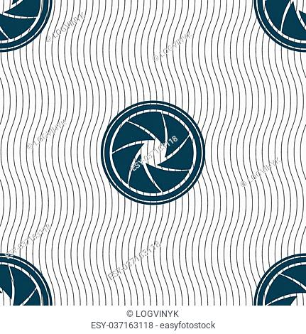 diaphragm icon. Aperture sign. Seamless pattern with geometric texture. Vector illustration