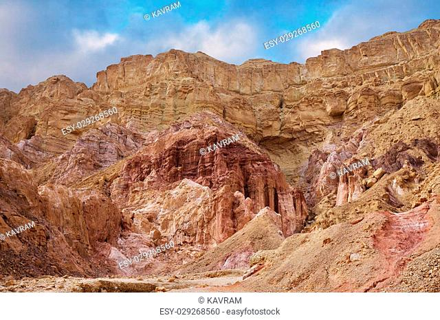 "Natural """"Pillars of Amram"""" light pink color. Warm winter day in Eilat, Israel"