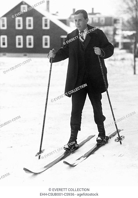 John Coolidge, son of the President Calvin Coolidge, skiing at Amherst College. Jan. 27, 1926 (CSU-2015-9-771)