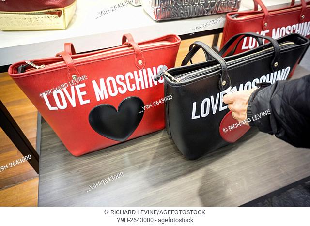 Moschino designer handbags on sale at the Saks Fifth Avenue Off Fifth discount spin-off brand in New York