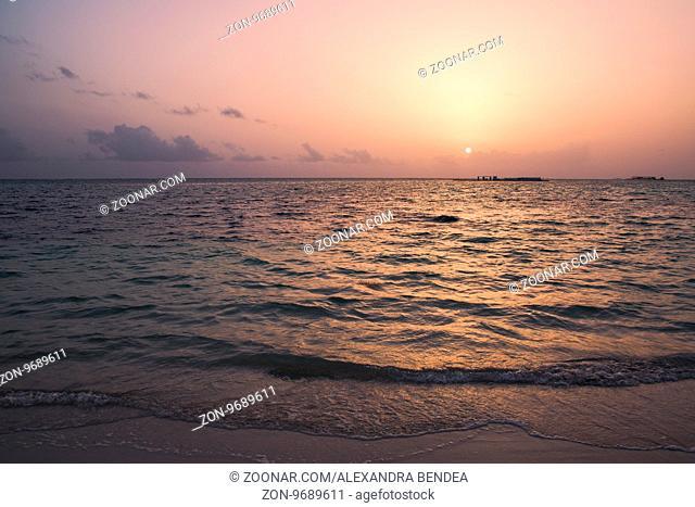 Sunrise over water on Caribbean island