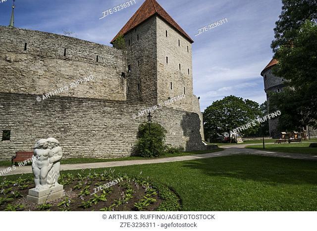 Maiden's Tower (Neitsitorn), archery range, and Peek in the kitchen (Kiek in de Kök) Tower, Tallinn's City Walls, Old Town, Tallinn, Estonia, Baltic States