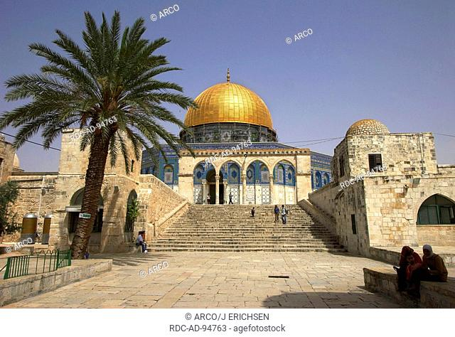 Dome of the Rock with stairs and palm Temple Mount old part of Jerusalem Israel