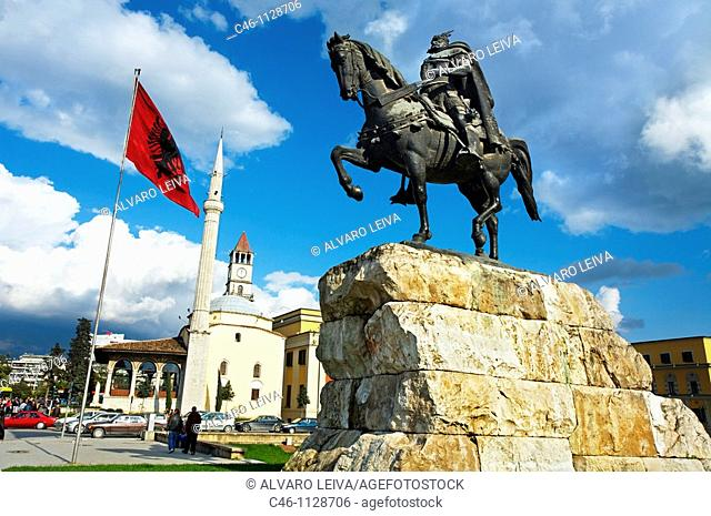 Skanderbeg monument and the mosque of Mirahori a Korça. Skanderbeg Square in Tirana. Albania