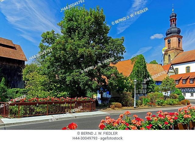 Parish church Saint Michael, houses, framework, gardens, to Rheinzabern Germany