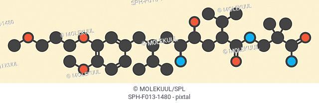 Aliskiren hypertension or high blood pressure drug (renin inhibitor class), chemical structure. Stylized skeletal formula (chemical structure)
