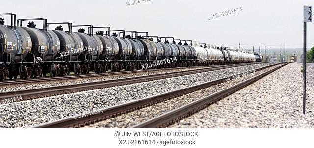 Lordsburg, New Mexico - Railroad tank cars on the Union Pacific main line between Los Angeles and New Orleans
