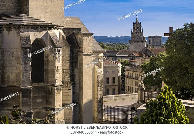 View from the Dom garden on the belfry of the town hall. Vaucluse, Provence, France, Europe