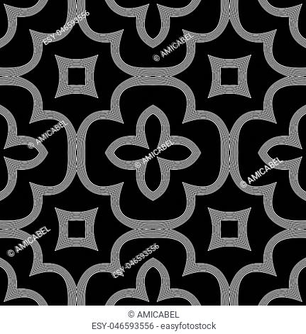 Design seamless monochrome decorative pattern. Abstract background. Vector art. No gradient